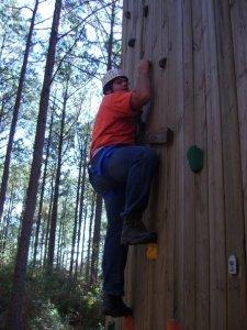 Alex climbs.
