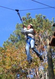 Alicia zipping.