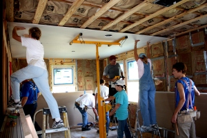 The volunteers were putting up drywall by Thursday.
