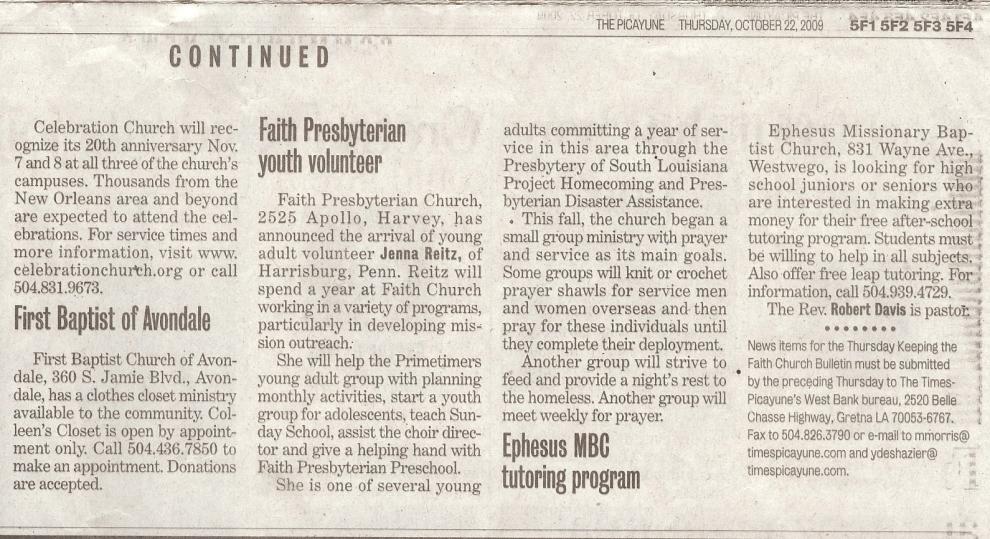 Faith PC - YAV Announcement